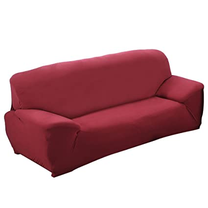Gosear Funda para sofá, Alta Elasticidad 3 plazas Funda de sofá elástica, Cómodos sofás de 3 plazas (190cm - 230cm, 70-90 Inches), Rote