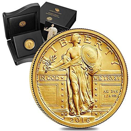 - 2016 S Gold Standing Liberty Quarter .25 BU in Centennial Box