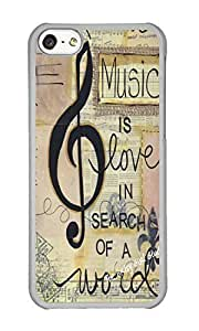 Iphone 5C Case Fashion Design Music Note Pattern Clear PC Hard Case For Apple Iphone 5C