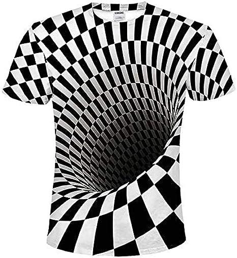 2019 Hombre/Mujer Camiseta 3D para Hombre Negro y Blanco hipnotizado Estampado vértigo Camiseta Manga Corta Camiseta 2-5XL: Amazon.es: Ropa y accesorios