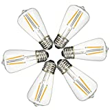 KINGSO 6 Pack E27 2W ST48 Cob Led Vintage Light Retro Edison Style Screw Technology 20W Incandescent Bulb Equivalent Squirrel Cage Nostalgic Filament Not Dimmable Warm White 2700K 200LM Amber Tinted