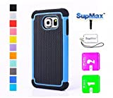 S6 Case, Galaxy S6 Case,SupMax™ *New Style* *Silicone+PC* [Full-Body Protection] [Scratchproof] [Shock proof] [Drop proof] Impact Resistant Hard Shell Case Cover Dual Layer With Upscale Silicone Shock Absorbent [Gifts(SupMax brand)Dust plug+Screen wipes+Phone Chain ] for Samsung Galaxy S6 -Multi colors (Samsung Galaxy S6, Blue)