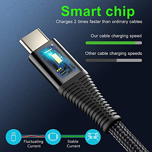 USB C Cable Fast Charge Type C Cables Fast Charging USB-C Phone Charger Cable 3Pack(1M|2M|3M) Compatible With Samsung Galaxy S20 S10 S9 S8 A40 S21;Huawei P20 Lite P10 P9;Oneplus 2 3;sony xperia xa1