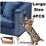 Cat Scratch Furniture Protector 4 PCS, X Large Cat Couch Protector Clear Double Sided Deterrent Cat Scratching Guard, Anti Cat Scratch Tapes Pet Scratch Couch Protector with 24 Screws