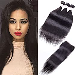 10A Peruvian Virgin Straight Hair 3 Bundles with Free Part Closure (26 28 30+20) 100% Unprocessed Peruvian Straight Human Hair Weft with Lace Closure Natural Hair Extensions Peruvian Straight Hair