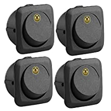 Qiilu 12V 25A Round Rocker Toggle Switch LED On-Off Control Yellow SPST for All Car Auto Boat 4Pcs