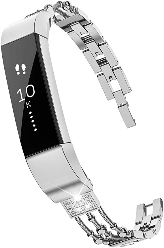 Alta HR Band Women Alta Fit Bit Replacement Band for Fitbit Alta HR Bands Accessories Straps Bracelet Bangle Wrist Bands Small Large Wearlizer Compatible Fitbit Alta Band Metal