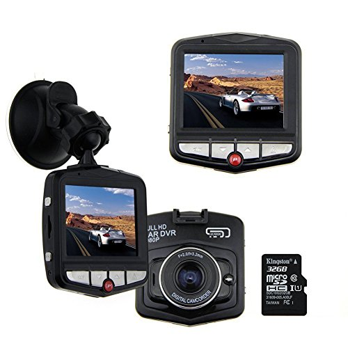 AUBBC Full HD 1080P Car Vehicle HD Dash Camera DVR Cam Recorder with 32GB Micro SD Card Black