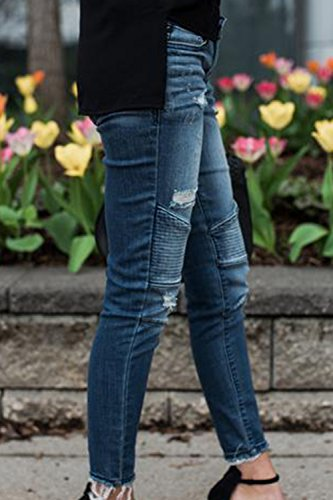 Alla Pantaloni Caviglia Le Denim Blu Destoryed Chiarocolor Donne Strappato yulinge Jeans Lunghi OwqpIFw