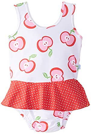 i play. Baby Girls' Mod Ultimate Swim Diaper Skirty Tanksuit, White, Small/6 Months