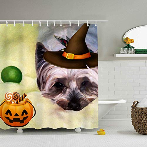 Ashley Lauren Mia Exotic Psychedelic Halloween Yorkie Dog Painted Shower Curtain 7272 inch Bathroom ()