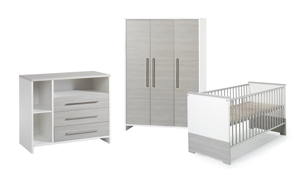 Schardt Kinderzimmer Eco Silber bestehend aus: Kombi-Kinderbett 70x140 cm (inklusive Umbauseiten), Wickelkommode mit Wickelaufsatz und 3-türigem Kleiderschrank