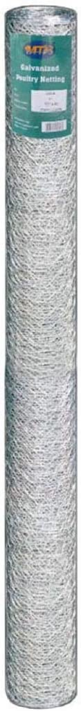 MTB 20GA Galvanized Hexagonal Poultry Netting Chicken Wire 72 inches x 50 feet x 1 inch Mesh