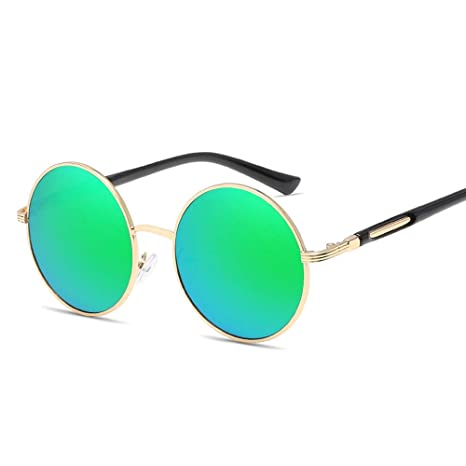 L.L.QYL Gafas Gafas de Sol Redondas Tendencia Retro Color ...