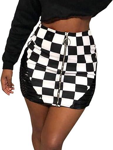 Mujeres Falda de Cuero de la PU Sexy Mini Falda Corta Cintura Alta ...