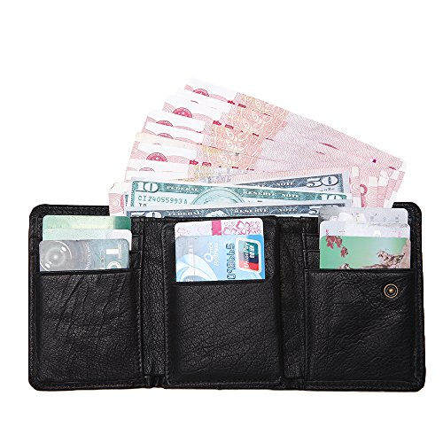 Artmi Mens Trifold Wallet RFID Leather Card Holder Compact Purse Extra Capacity (Black with coin pocket) - Leather Tri Fold Handbag