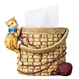 Colias Wing Lovely Cartoon Animals Cat&Wool Stylish Design Home Decorative Desk Standing Resin Roll Paper Towel Holder Tissue Box Cover Paper Holder Napkin Box-Khaki