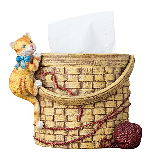 Colias Wing Lovely Cartoon Animals Cat&Wool Stylish Design Home Decorative Desk Standing Resin Roll Paper Towel Holder Tissue Box Cover Paper Holder Napkin Box-Khaki by Colias Wing