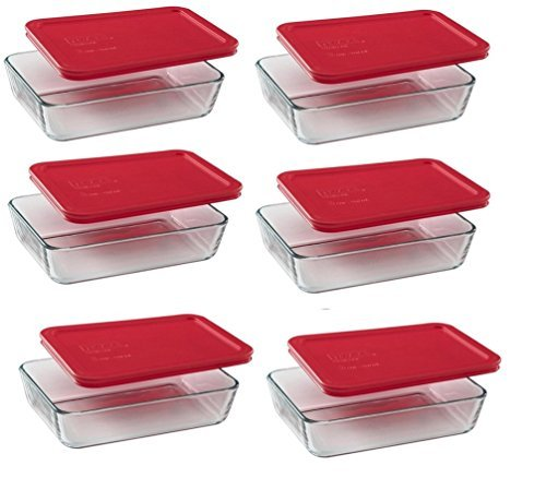Pyrex 3-Cup Rectangle Food Storage Container (Value Pack of 6 ()