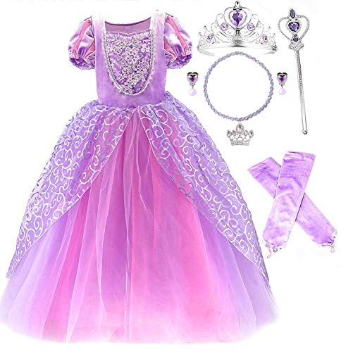 Romy's Collection Princess Rapunzel Special Edition Purple Party Deluxe Costume Dress-Up Set (Purple, 3-4)