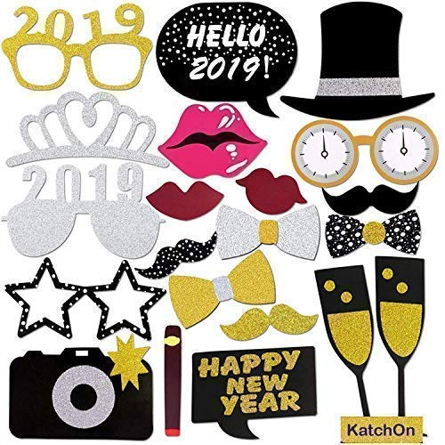 New Years Photo Booth Props | Pack of 20, Real Glitter | New Years Eve Party Supplies 2019 | Nye decorations 2019 |  New-Year Decorations 2019 | Happy New-Year 2019 Props | DIY Required