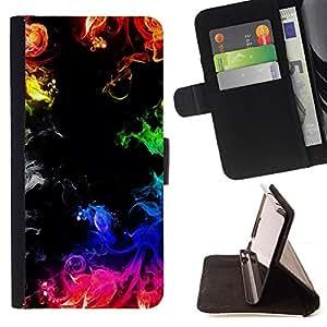 FLAMES BLACK RAINBOW INK FIRE COLORFUL/ Personalizada del estilo del dise???¡Ào de la PU Caso de encargo del cuero del tir????n del soporte d - Cao - For Samsung Galaxy S6 EDGE