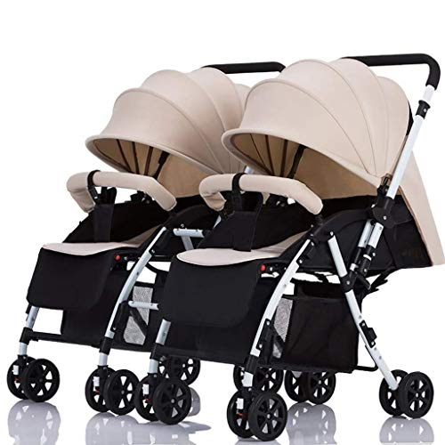 XZHSA Double Stroller Tandem Foldable Stroller 2 Canopy Pram for Babies Newborn – 3 Years Old (Color : Khaki)