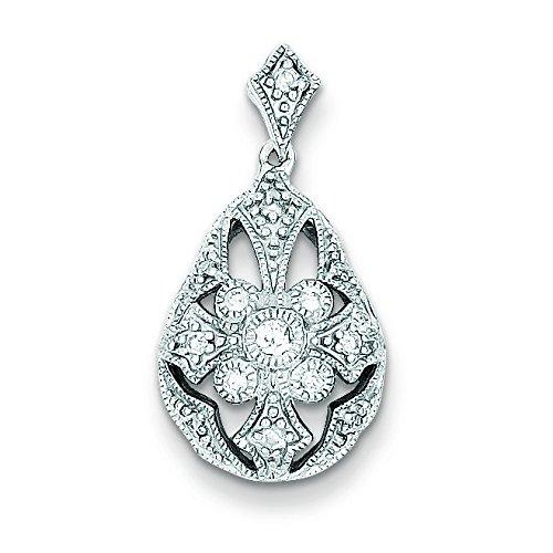 Argent Sterling Rhodium plaqué diamant JewelryWeb-Pendentif en forme de goutte