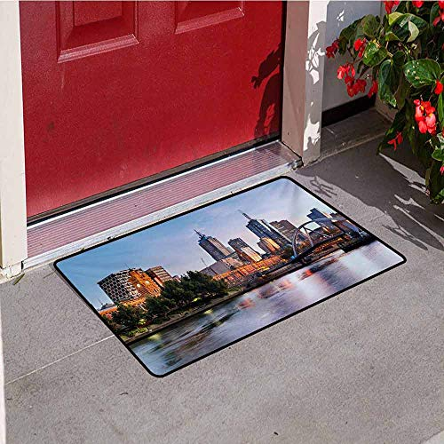 Jinguizi City Universal Door mat Early Morning Scenery in Melbourne Australia Famous Yarra River Scenic Door mat Floor Decoration W15.7 x L23.6 Inch Orange Green Pale Blue (Best Shops In Melbourne)