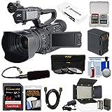JVC GY-HM170U Ultra 4K HD 4KCAM Professional Camcorder & Top Handle Audio Unit XLR Microphone + 64GB Card + Battery + LED Video Light + Kit
