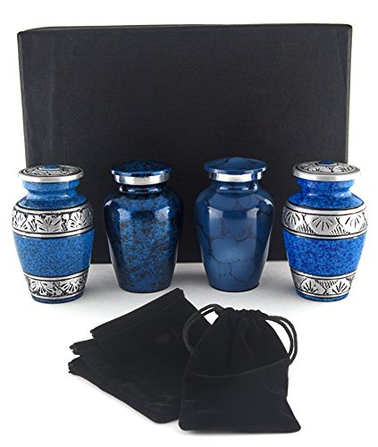Small Cremation Urns for Human Ashes by Adera Dreams - Blue Mini Keepsake Urn Set of 4 - With Premium Case, Funnel and Velvet Carrying Pouches - Miniature Memorial Funeral Urns for Sharing Ashes