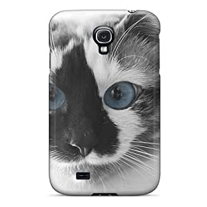 TpfLVsT7173JMbKH Anti-scratch Case Cover Cynthaskey Protective Cats Blue Eyes Animals Case For Galaxy S4
