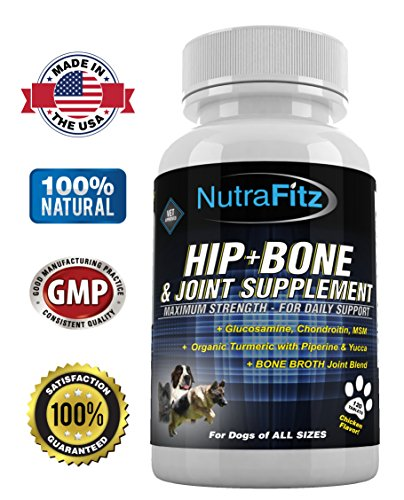 Hip Bone and Joint Supplement for Dogs -Glucosamine Chondroitin for Dogs, MSM, Organic Turmeric - Arthritis Pain Relief, Hip Dysplasia, ACLs - Best Dog Joint Supplement for Joint Support - - Tablets Plus Joint 120 Support