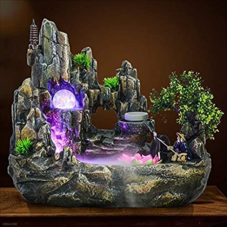 Indoor Fountains Indoor Fountain Rockery Fountain Fish Pond Feng Shui Mountain Landscape Bonsai Humidifier Desktop Landscape Home D/écor Size : S