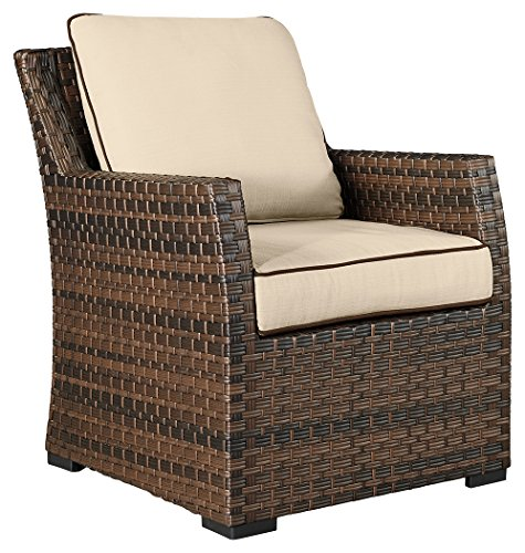 Ashley Furniture Signature Design - Salceda Outdoor Patio Lounge Chair - Cushioned Back - Woven Frame - Dark Brown and Tan (Furniture Ashley Outdoor)