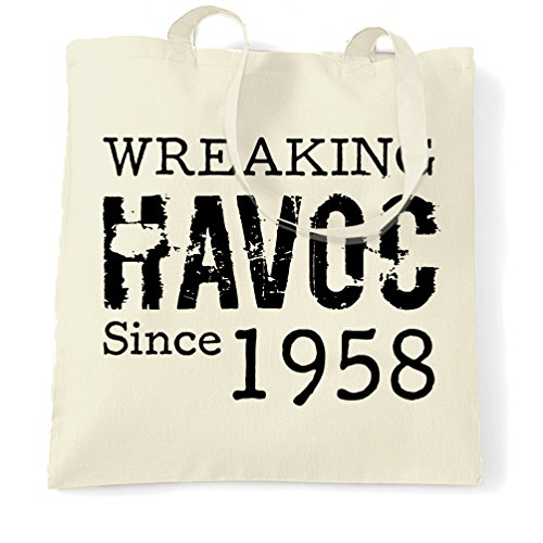 60th 60th Bag Wreaking Natural Havoc Distressed Birthday 1958 Shopping Birthday vwvWrAqF