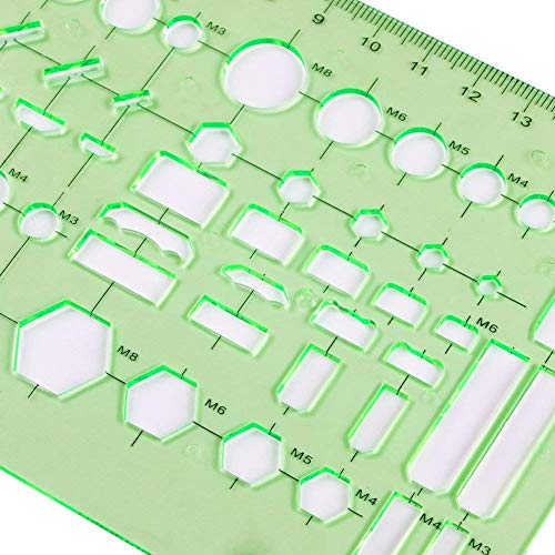 Qincling 11 Pieces Geometric Drawings Templates Stencils Plastic Measuring Template Rulers Clear Green Shape Template for Drawing Engineering Drafting Building School Office Supplies by Qincling (Image #7)