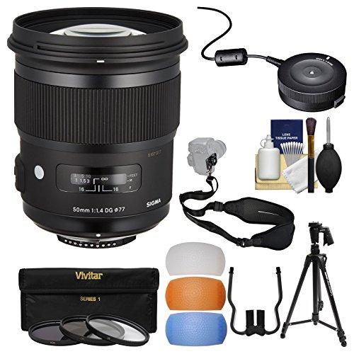 Sigma 50mm f/1.4 Art DG HSM Lens with USB Dock + 3 Filters + Tripod + Strap + Diffusers + Kit for Nikon Digital SLR Cameras