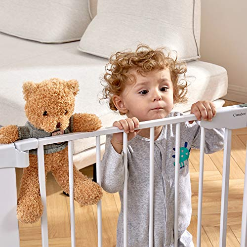 """51ZHvTK5W0L - Cumbor 46"""" Auto Close Safety Baby Gate, Extra Tall And Wide Child Gate, Easy Walk Thru Durability Dog Gate For The House, Stairs, Doorways. Includes 4 Wall Cups, 2.75-Inch And 8.25-Inch Extension"""