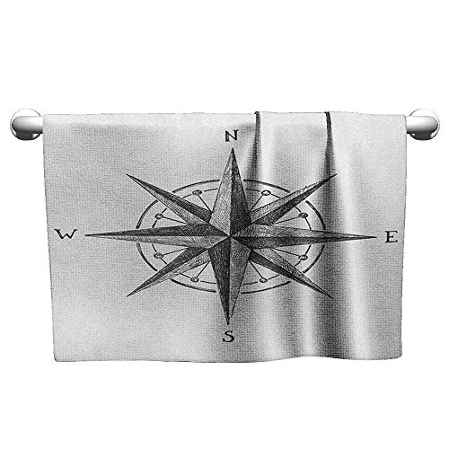 Floral Hand Towels Compass,Seamanship Hand Drawn Windrose with Complete Directions North South West, Charcoal Grey White,t Shirt Towel for Curly Hair