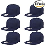 Falari Wholesale 6 Pack Snapback Hat Cap Hip Hop Style Flat Bill Blank Solid Color Adjustable Size (One Size, 6-Pack Navy)