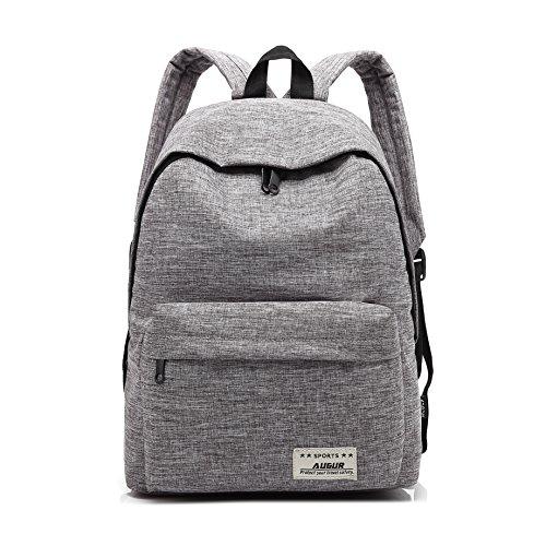 14' H 1 Light (Augur Classic Backpack, Basic Simple Unisex Travel School Rucksack 14'' Laptop, Water Resistant Book Bag Daypack Lightweight, Gray)