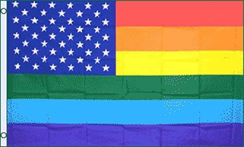 Rainbow US Stars Flag 3x5ft Poly