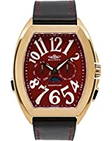 Balmer Cobra Elegante Mens Swiss Master Calendar Watch - Black Leather Strap, Red Dial, Rose Gold Case