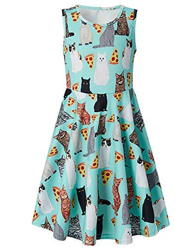 RAISEVERN Girls Sleeveless Dress 3D Print Cute Pizza Cat Pattern Summer Dress Casual Swing Theme Birthday Party Sundress Toddler Kids Twirly Skirt, Pizza Cat, 10-13T -