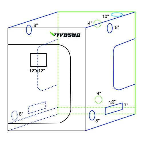 """51ZHwXyRGkL - VIVOSUN 60""""x60""""x80"""" Mylar Hydroponic Grow Tent with Observation Window and Floor Tray for Indoor Plant Growing 5'x5'"""
