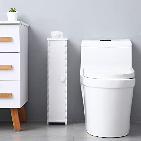 White Sysrf6015 Soges Small Bathroom Cabinet Narrow Organizer With Paper Holder Toilet Paper Storage Vanity Cabinet Corner Cabinet Side Table With Shelves And Door Bathroom Decor Storage Organization Zuiverlucht Home