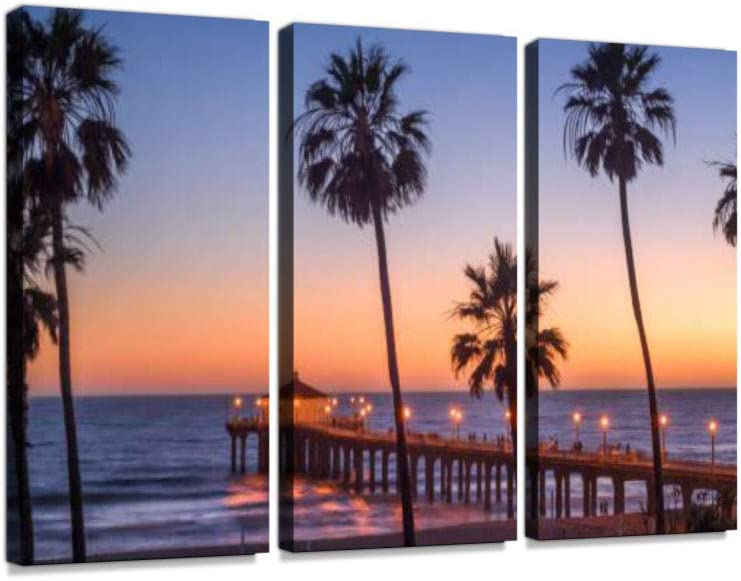 Amazon Com Manhattan Beach Pier At Sunset Los Angeles California 3 Pieces Print On Canvas Wall Artwork Modern Photography Home Decor Unique Pattern Stretched And Framed3 Piece Posters Prints