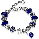 A TE® Bracciale Charms da donna placcato oro Blu cristalli beads Cuore Bead Regalo SKU:JW-B67