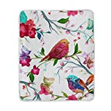 My Little Nest Warm Throw Blanket Vintage Bird Butterfly Lightweight Microfiber Soft Blanket Everyday Use for Bed Couch Sofa 50'' x 60''